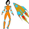 Space Woman and Rocket